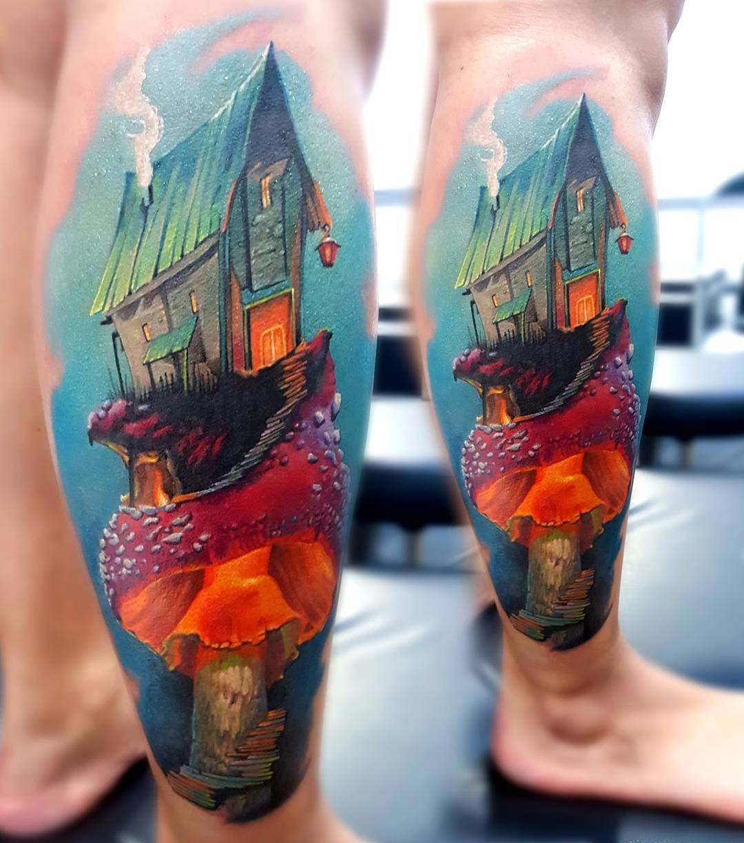 House on a mushroom tattoo