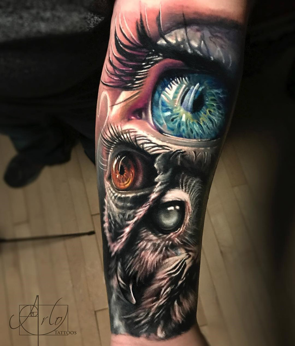 Owl & Human Eyes Tattoo