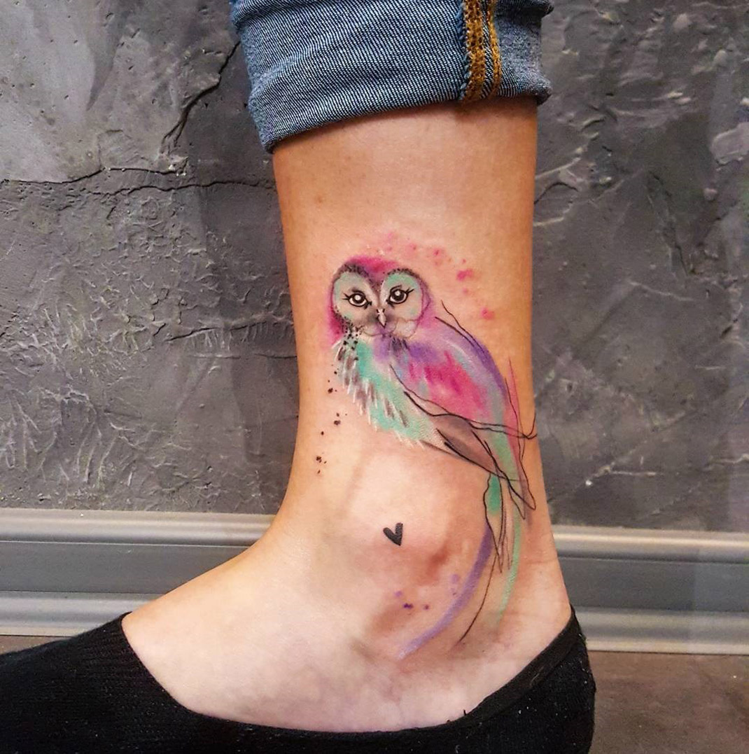 Small Owl Watercolor Piece On Girl S Ankle Best Tattoo