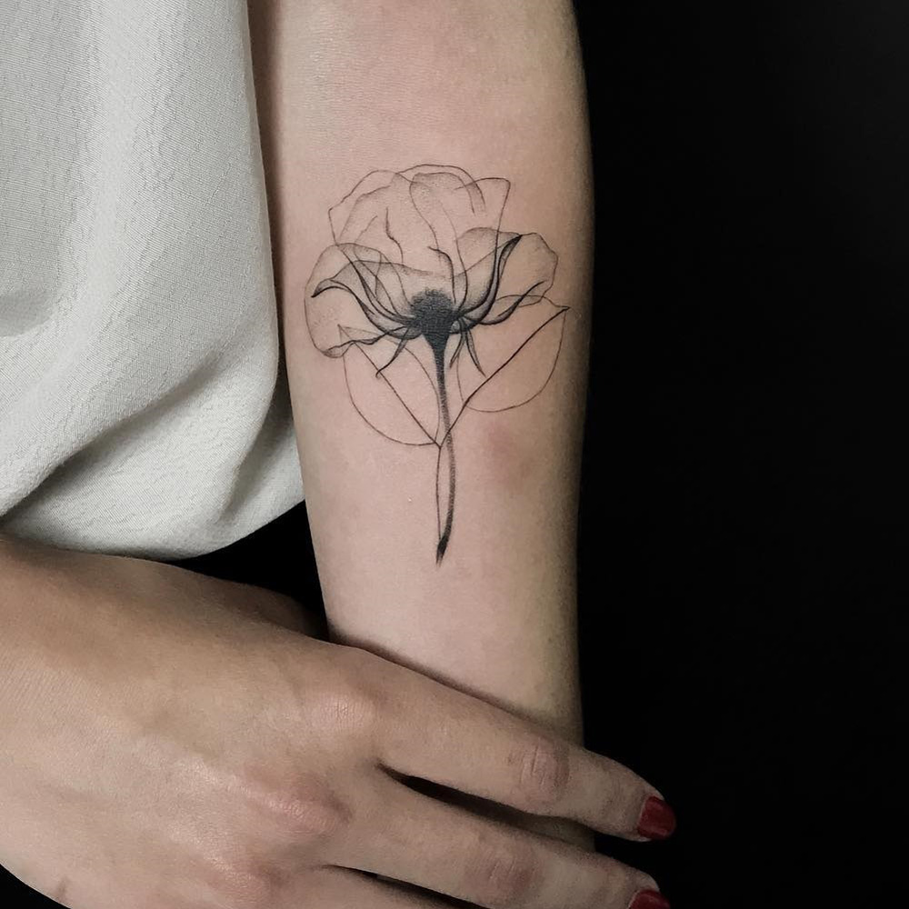 X-Ray Rose Tattoo