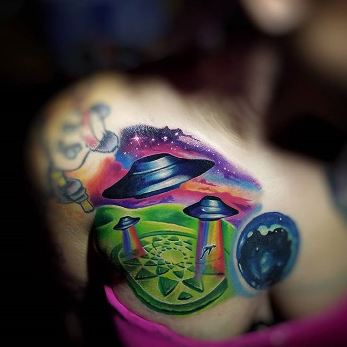 Aliens Tattoo with abductions and crop circles