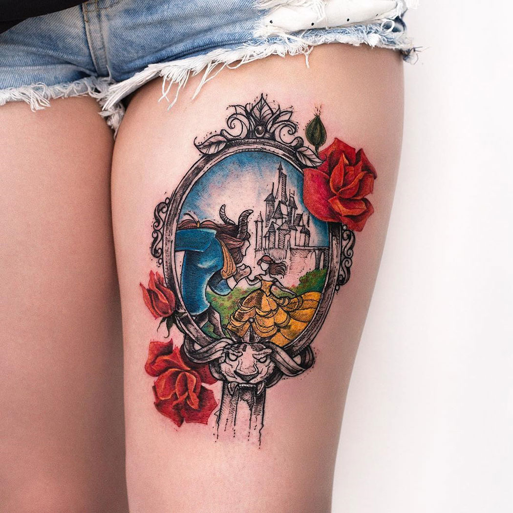Beauty And The Beast Mirror Thigh Tattoo