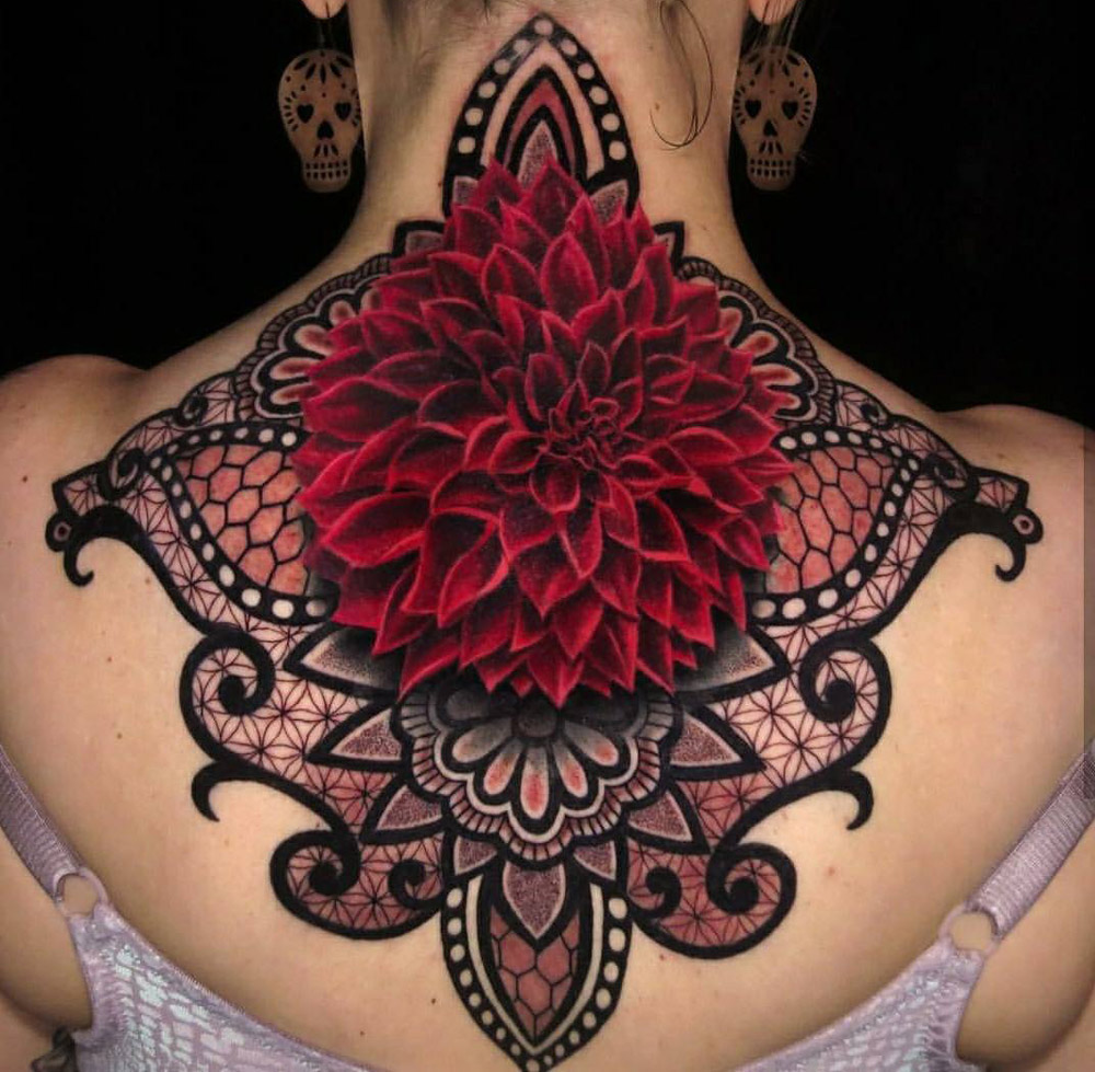 Dahlia & Mandala Back Piece