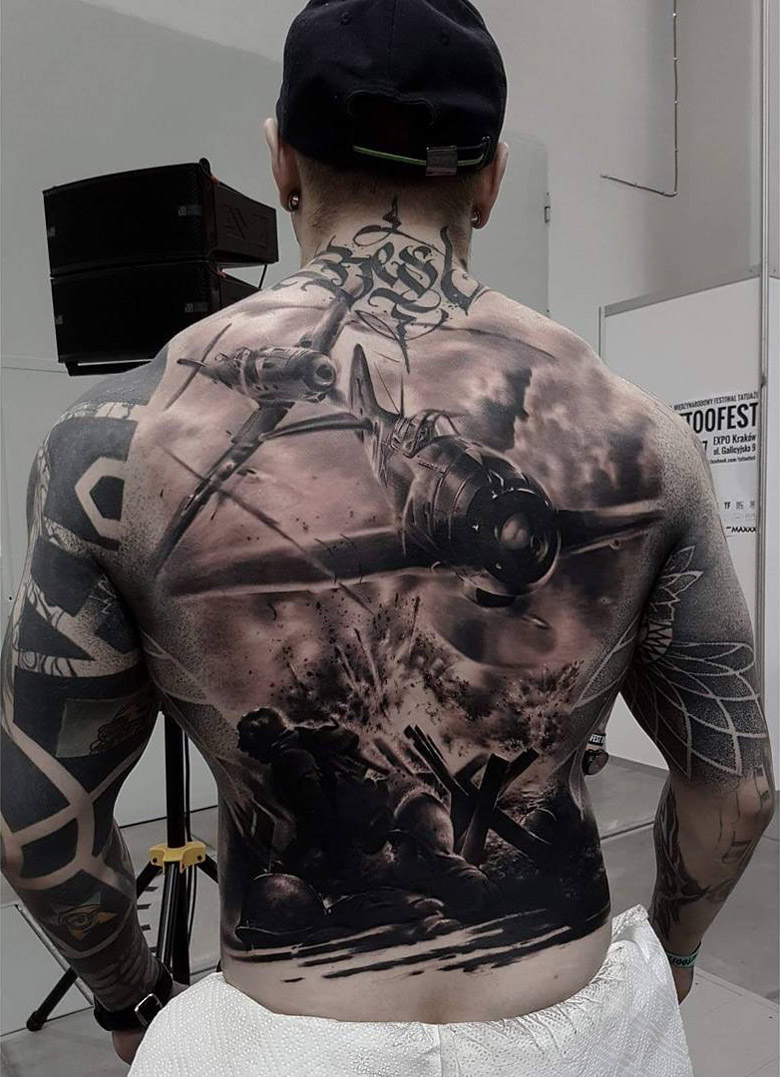 Tattoo Ideas On Back: War Back Tattoo With Fighter Planes
