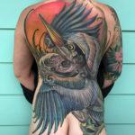Heron Bird, Girls Full Back Tattoo