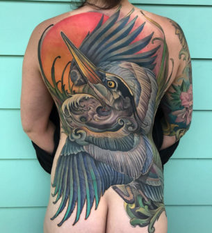 Heron Back Tattoo