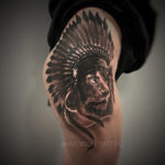 Lion & Headdress Hip Tattoo