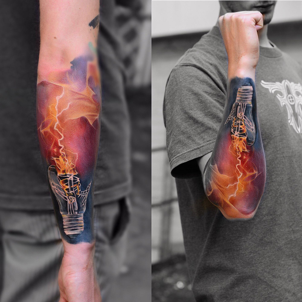 smashed bulb with electricity best tattoo design ideas. Black Bedroom Furniture Sets. Home Design Ideas