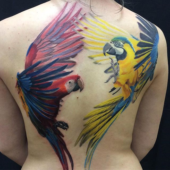 Macaws Back Tattoo