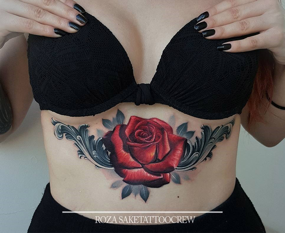 Red Rose and Filigree
