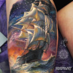 Sailing Ship Thigh Tattoo