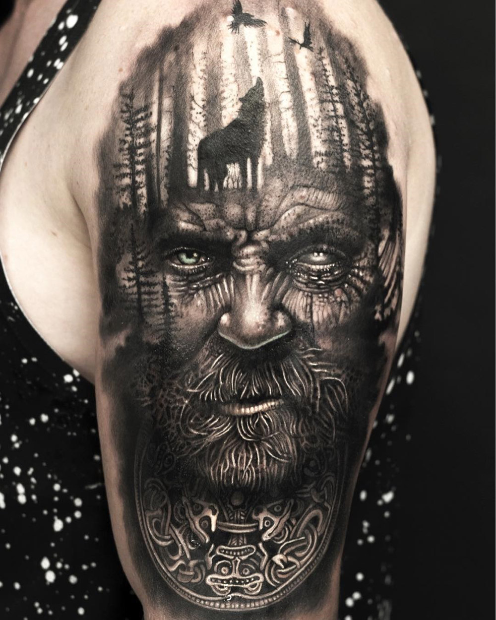 Viking Sleeve with Portrait & Wolf