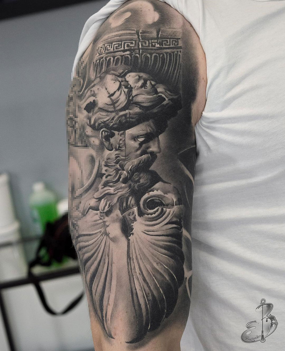 Zeus & Ruins Tattoo Idea