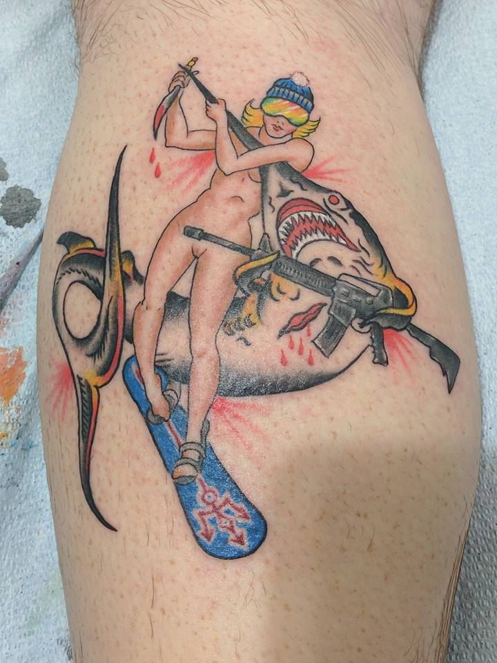 Snowboarding Girl Fighting a Shark