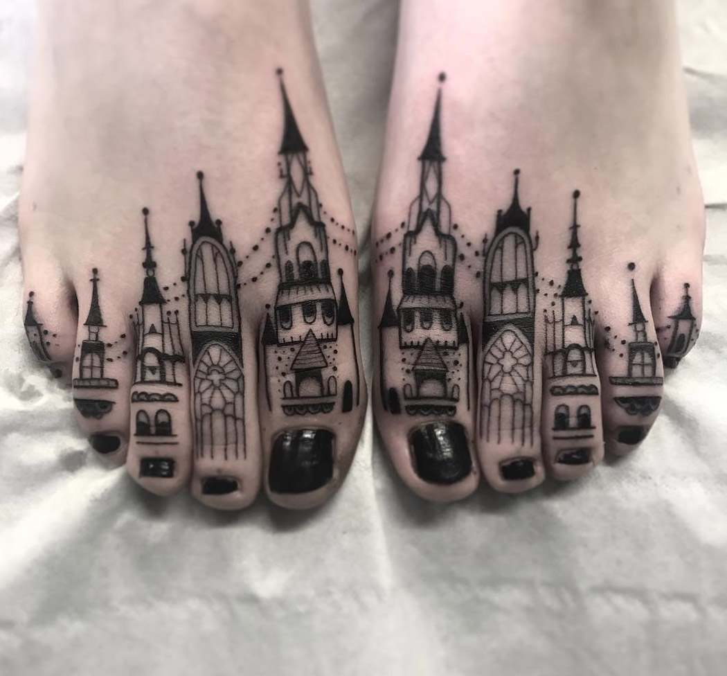Toe Buildings Tattoo