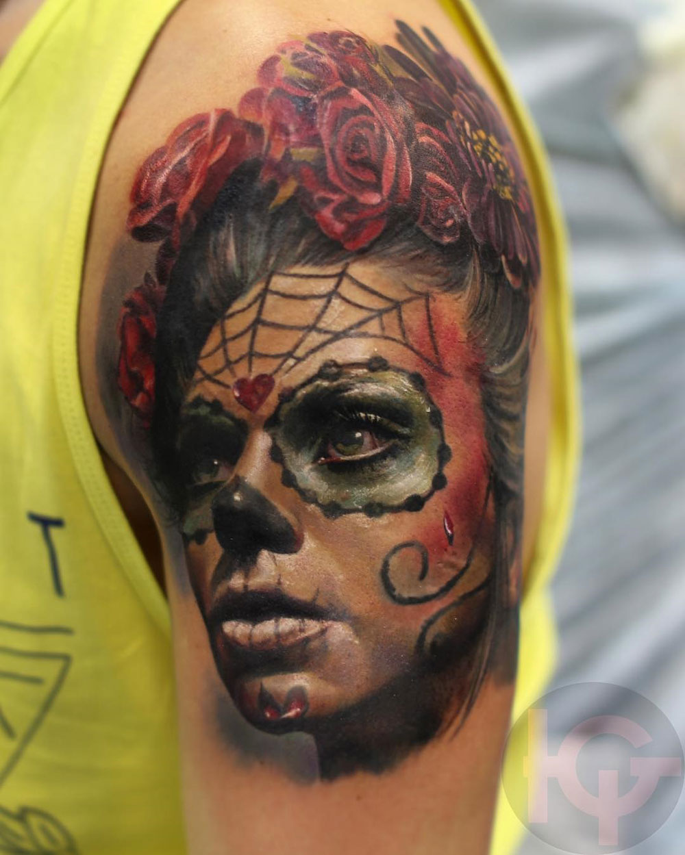 day of the dead girl realism upper arm piece best tattoo design ideas. Black Bedroom Furniture Sets. Home Design Ideas