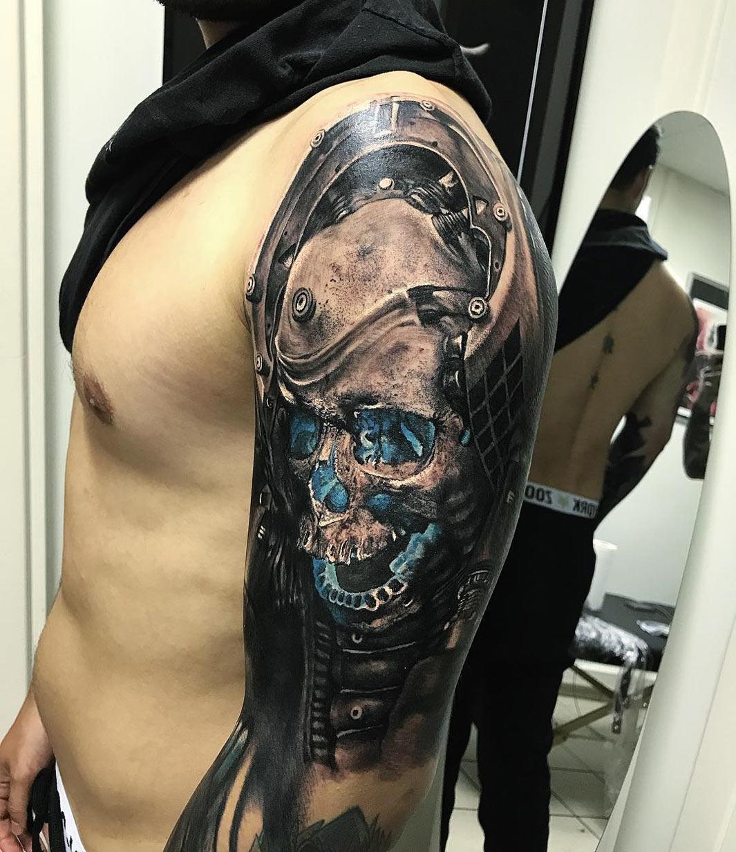 Futuristic skull mens upper arm piece best tattoo for Upper arm tattoo