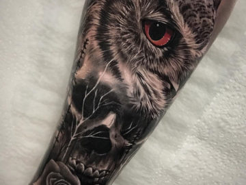 Owl, Skull & Rose morph tattoo