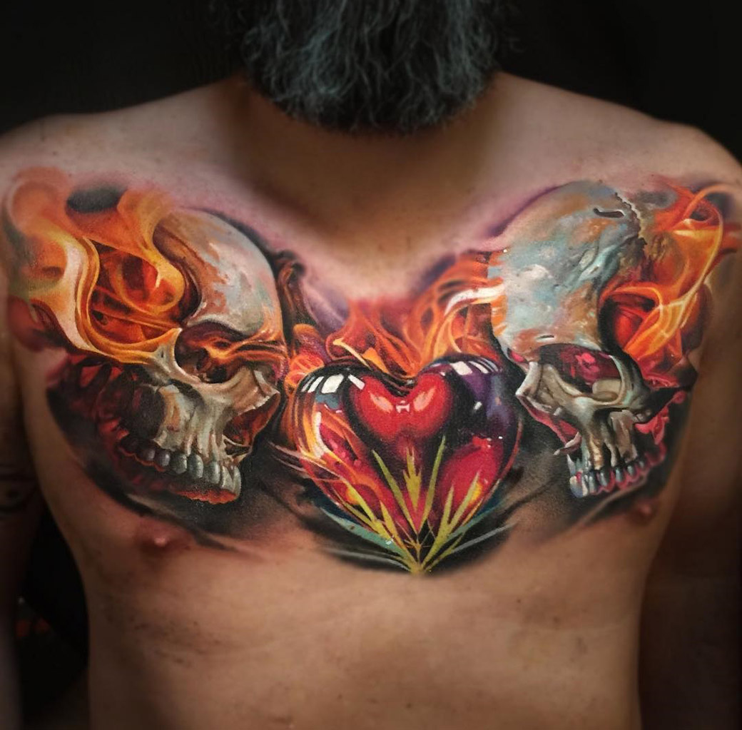 double flaming skulls amp heart mens chest tattoo best