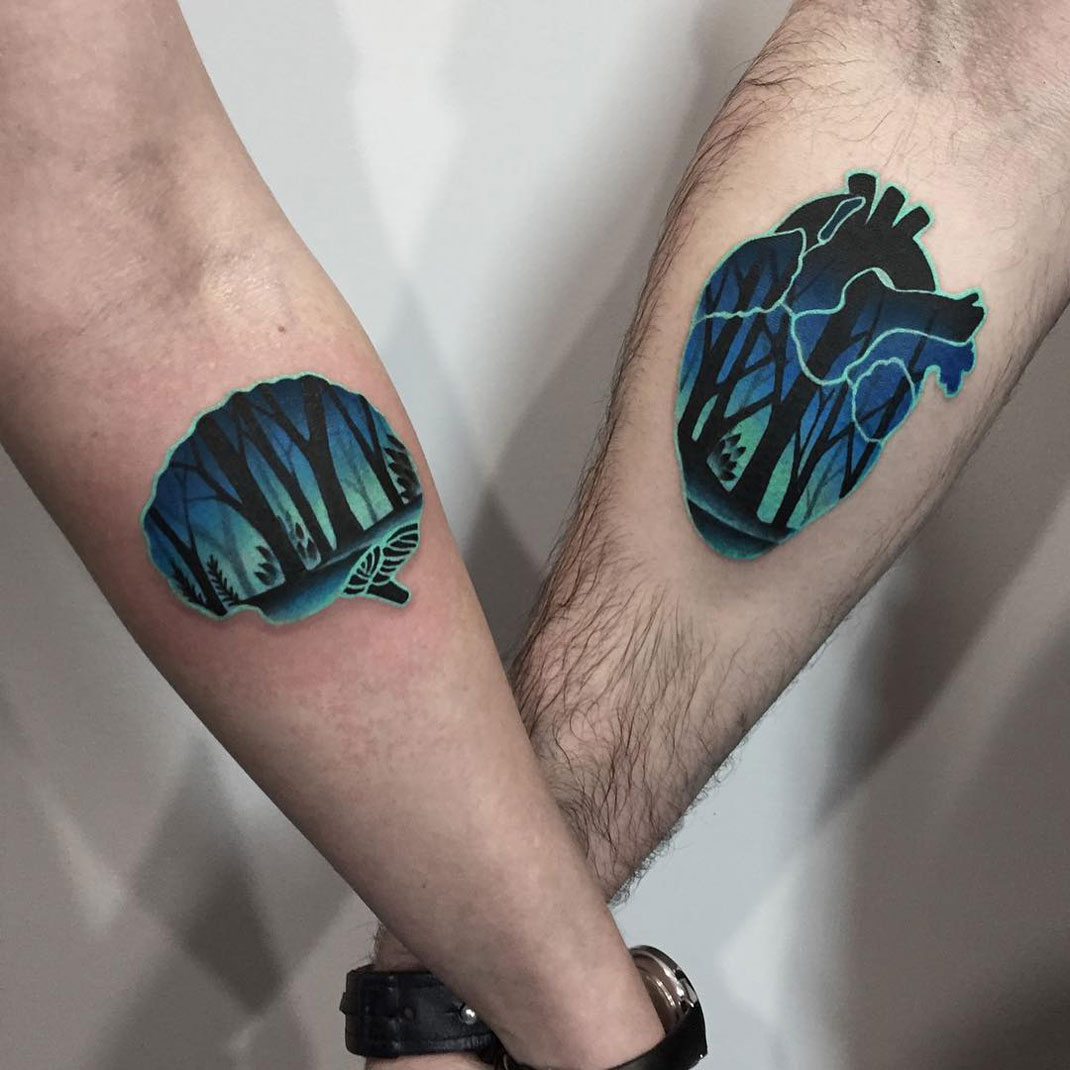 Heart & Brain Couple Tattoos