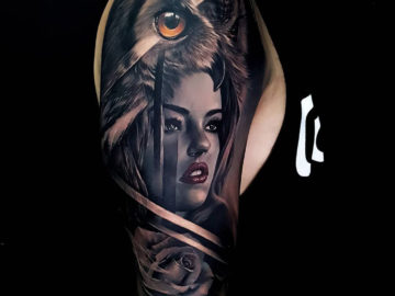 Morph Sleeve with owl, girl & rose