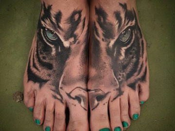 Tiger Double Foot Tattoo