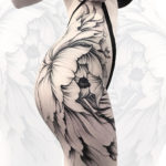 Girls floral hip & bum tattoo