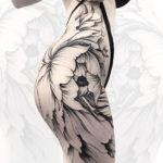 Girls floral hip & bum tattoo