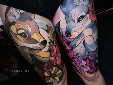 Fox & Wolf Girly Tattoo