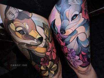 Fox & Wolf Girly Tattoo