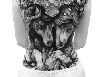Dark horses back tattoo