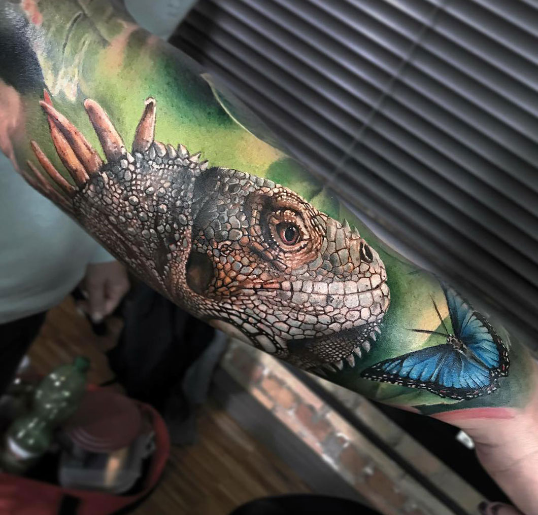 Iguana Realism Forearm Piece Best Tattoo Design Ideas
