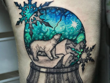 Polar Bear Snow Globe Tattoo