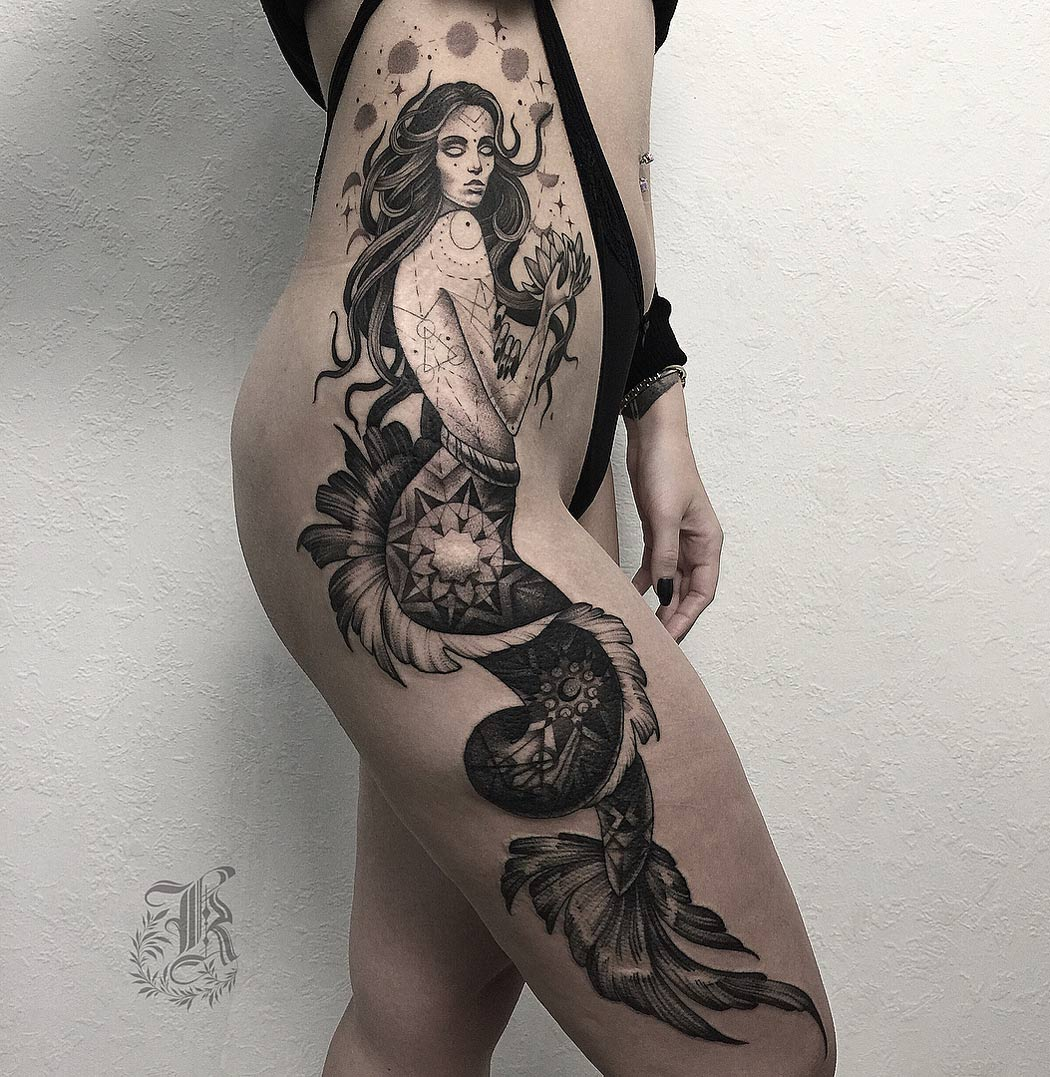 Magical Mermaid Side Tattoo