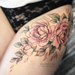 Pink Peonies Thigh Tattoo
