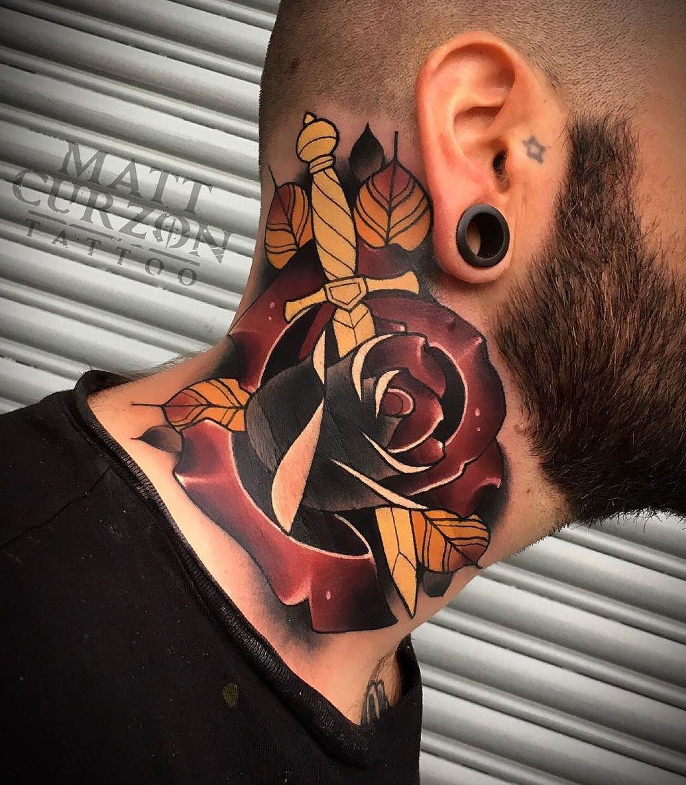 Dagger & rose neck tattoo