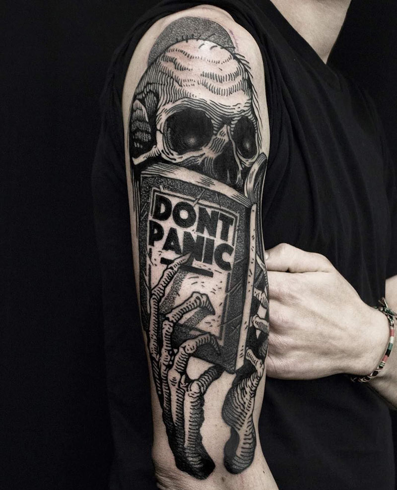 skeleton reading don 39 t panic book best tattoo design ideas. Black Bedroom Furniture Sets. Home Design Ideas