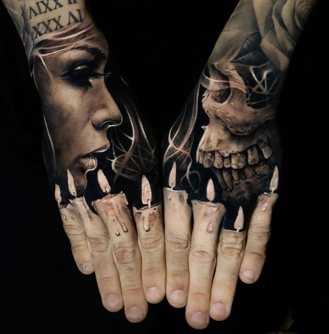 Finger Candles Portrait Skull Hand Tattoos Best Tattoo