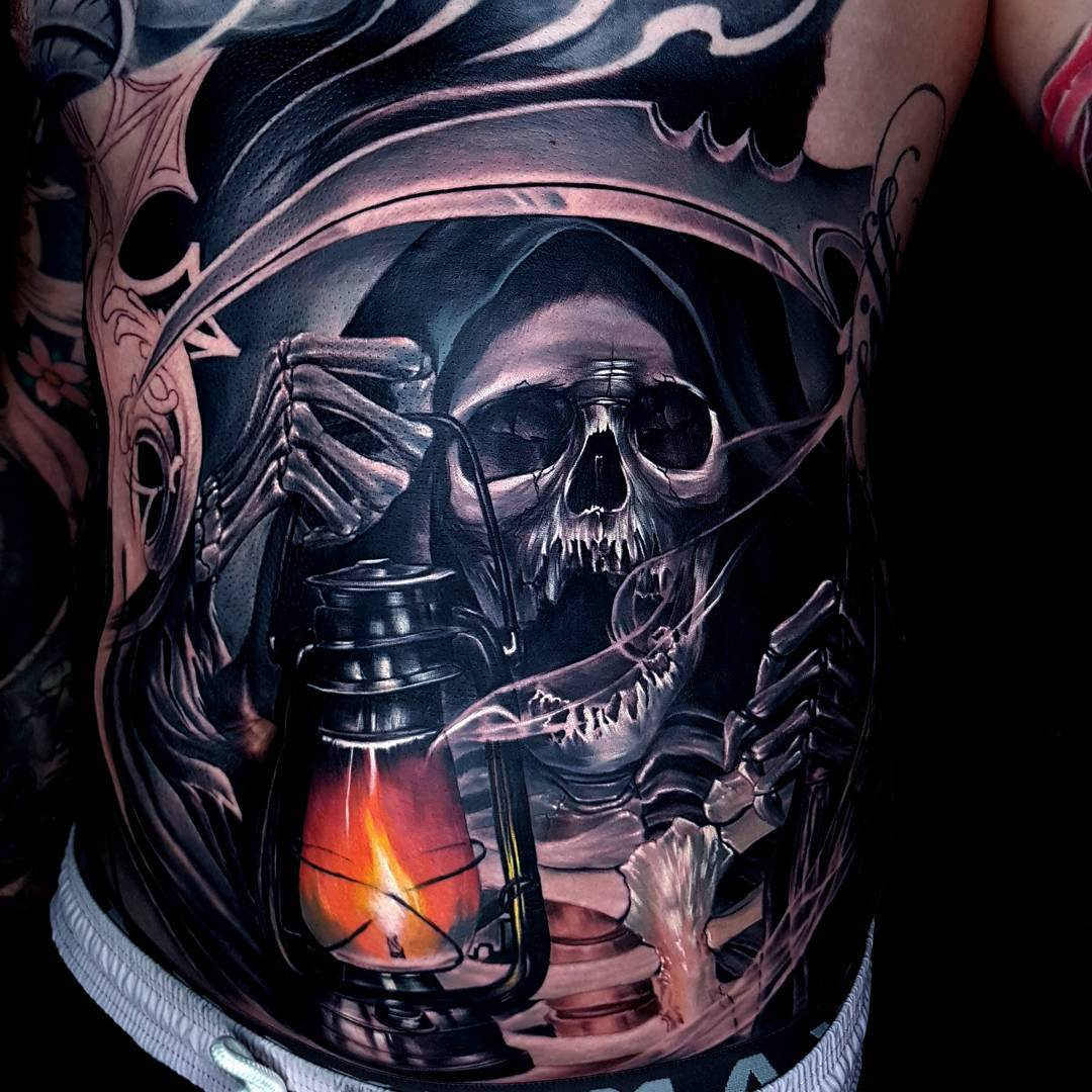 Grim Reaper Holding a Lantern | Best tattoo design ideas