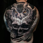 Owl & skull back tattoo