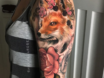 Floral Fox Tattoo
