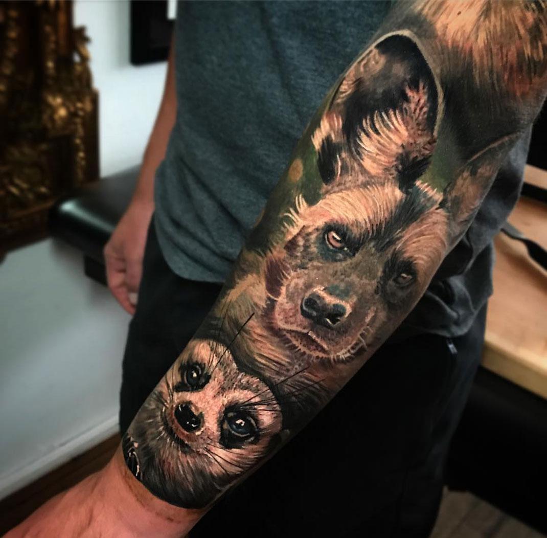 Wild Dog & Meerkat forearm piece