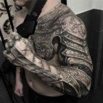 Armour tattoo, mens chest & sleeve