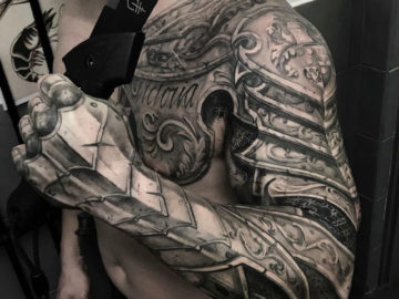 Armour tattoo, mens chest & sleeve
