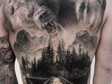 Bear back tattoo