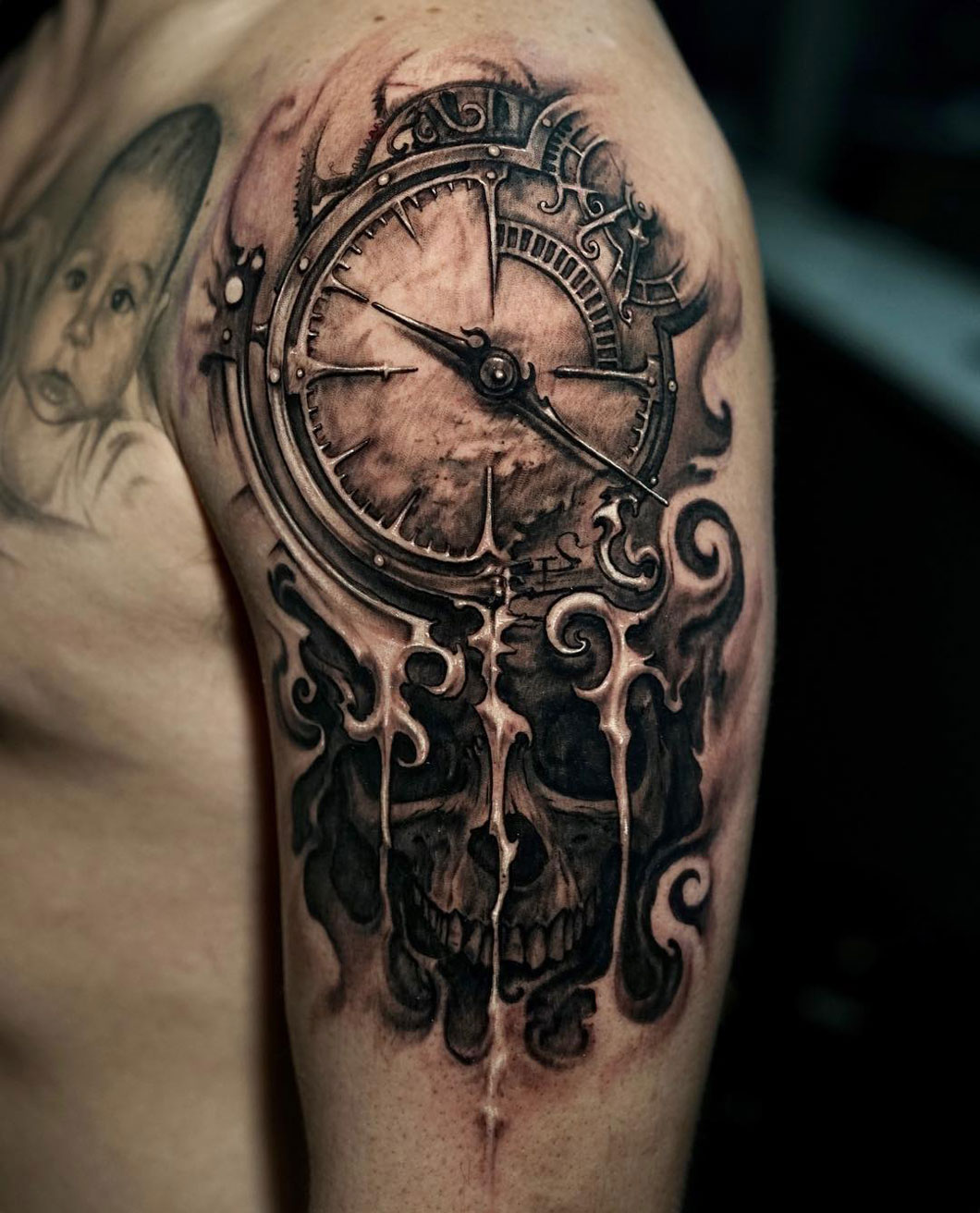 1c4e5ca6e Clock & Skull Melting | Best tattoo design ideas