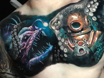 Angler Fish & Diver Chest Tattoo