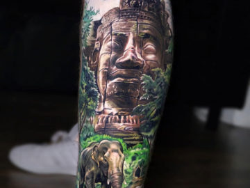 Elephant & Temple Tattoo