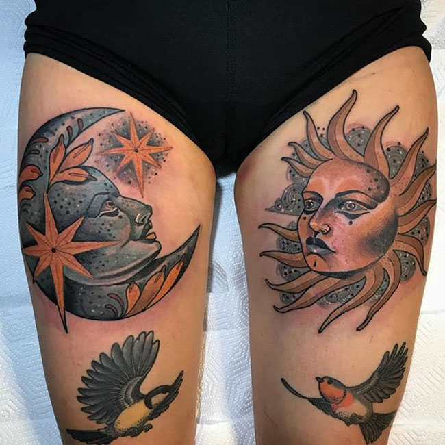 Moon & sun thigh tattoo