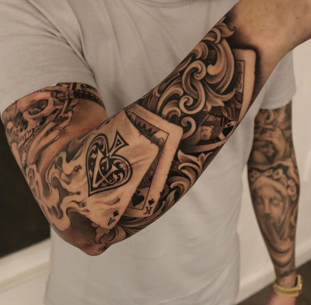 Pay 2 play playing card sleeve best tattoo design ideas for Card tattoo designs